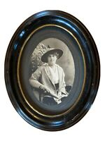 Vintage Wood Oval Picture Frame Black w/Gold Trim Photograph of Woman NO glass