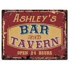 PPBT0584 ASHLEY'S BAR and TAVERN Rustic Tin Chic Sign Home Store Decor Gift