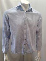 English Laundry Blue White Plaid L/S Button Down Mens Cotton Dress Shirt Size 15