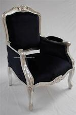 ORNATE CHAIR SILVER & BLACK LOUIS FRENCH WING VELVET ARM HOME SHOP SALON LOUNGE