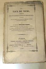 DES EAUX DE VICHY-DURAND FARDEL ENVOI,1851-MALADIES ALGERIE ORGANES