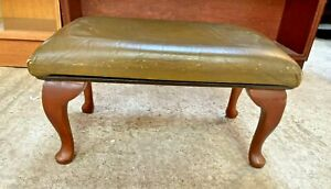 Vintage Style Wooden Adjustable Height Sloping Footstool Green Faux Leather Top