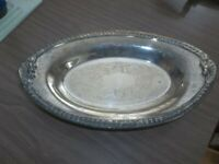 """Lovely Vintage Silverplated Footed Dish SHERIDAN 7 1/2 x 13 1/2"""""""