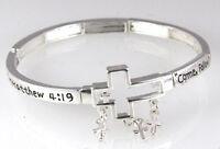 4030865 Matthew 4:19 Come Follow Me Christian Scripture Stretch Bracelet Cros...