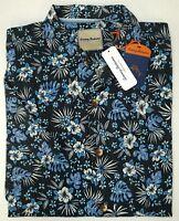 NWT $125 Tommy Bahama Short Sleeve Black Blue Floral Shirt Mens Size M Silk NEW