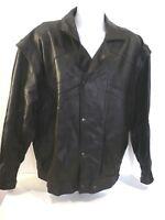 cuir agneau BROZ BROTHERS taille XXL veste Blouson noir manches amovibles homme