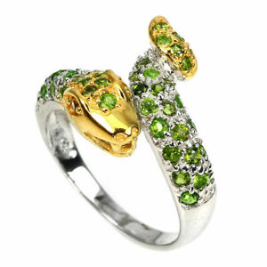 Ring Green Chrome Diopside Genuine Gems Two Tone Solid Sterling Silver P1/2 US 8