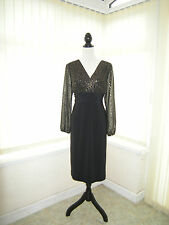 14 GINA BACCONI DRESS BLACK GOLD LONG SLEEVES PARTY COMFORT + STYLE QUALITY
