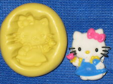 Hello Kitty With Flower Push Mold Flexible Resin Food Safe Silicone  #758 Cake