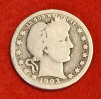 1903-P 25C BARBER QUARTER G 90% SILVER COLLECTOR COIN GIFT BQ311
