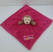 Baby Gear Pink Monkey Girl Plush You Make Me Happy Security Blanket Lovey Flower