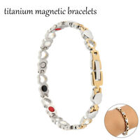 Ladies Magnetic Therapy Bracelet Silver Gold Copper Bangle Arthritis Pain Relief