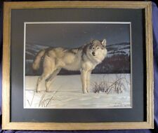 """Nancy Glazier , Wolf , Signed & Numbered Framed Print """"Starlight Sentry"""""""