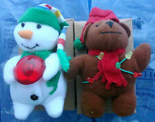Avon gift collection plush snowman bear holiday magnet with light set of 2