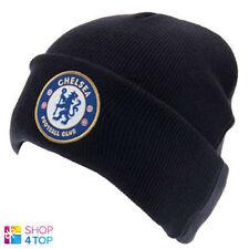 CHELSEA FC CAP KNITTED TURN UP BEANIE HAT NAVY BLUE FOOTBALL SOCCER CLUB TEAM