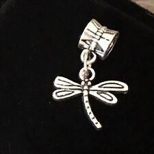 Dragonfly Butterfly Dangle Bead Silver for European Bracelet Or Clip On Charm