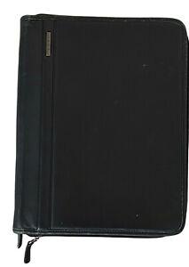 VINTAGE Mori Luggage LARGE leather planner notebook sleeve black 13x10.5  zipper