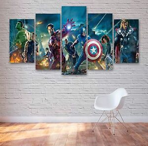 Avengers Movie 5 Panel Canvas, Iron Man, Hulk Wall Art, Multi Panel Canvas #012