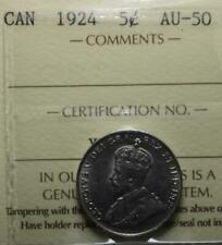 Canada 1924 5 Cents, ICCS Graded AU50, Old Date KGV