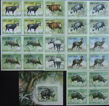 Vietnam-Elephants 7 St. in Block of 4,imperf,+ S/Sh.imperf.,Cancel,1988 VO11d