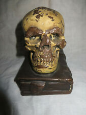 SINGLE Antique Bronze-Clad Skull and Grimoire Bookend by Armor Bronze circa 1922