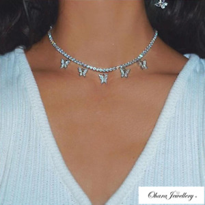 925 Solid Sterling Silver Butterfly Cubic Zirconia Choker Necklace Jewellery