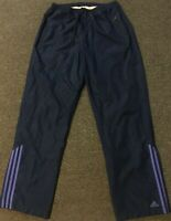 Vtg 90s Adidas Track Pants M Navy Purple Striped Warm Up Basketball Athletic 80s