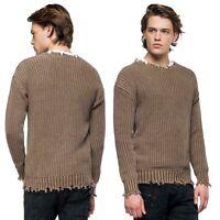 REPLAY pullover da uomo taglia L maglione in cotone invernale maglia con rotture