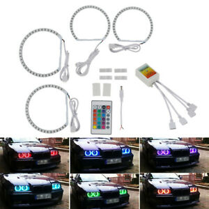 RGB LED Angel Eyes Ring Halo Lights Fit For BMW E46 3 Series 2D Coupe 2000-2003