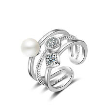 Womens Ladies Solid 925 Sterling Silver Zircon Pearl Band Ring Size 7 Adjustable
