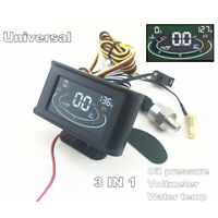 LCD 3 IN 1 12/24V Car Truck Water Temp /Oil Pressure/Voltage Gauge w/ Sensors