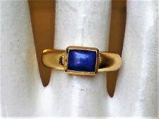 Designer URART Solid 18K 750 Yellow Gold Genuine Lapis Lazuli Band Ring 7.2 g.