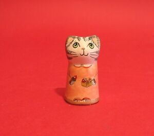 Strawberry Cat Hand Painted Pottery Cat Thimble Collectable Thimble CLEARANCE