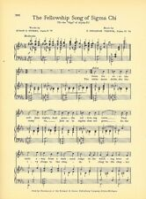 "SIGMA CHI Fraternity Vintage Song Sheet c1941 ""Fellowship Song"" Original"
