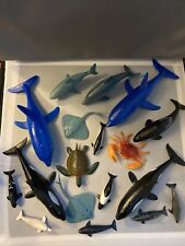 Lot of 18 Rubber Toy Sea Animals Dolphins, Orcas, Shark, Turtle, Stingrays