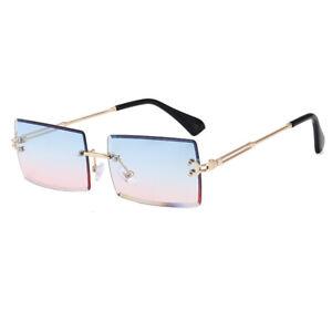 Sonnenbrille Randlos Durchsichtig Rechteckig Unisex Stylisch 100% UV400 15FARBEN
