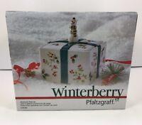 New In Box Pfaltzgraff Winterberry Snowman Treat Jar Candy Dish Cookies