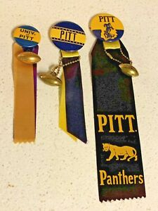 3 Vintage 1940s-50s PITT PANTHERS Pinback Buttons w/ ribbons & football charm