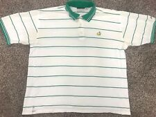 Vintage Masters 1999 White/Green Striped Golf Embroidered  Polo Shirt Size XL