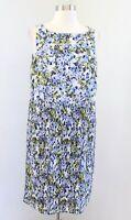 J Jill Blue Green Floral Print Pleated Sleeveless Shift Dress Size PM MP Casual