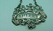 "UNUSUAL STERLING SILVER DECANTER WINE LABEL ""SHERRY"" ISRAEL FREEMAN LONDON 1937"