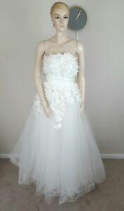 PRETTY PRINCESS WHITE FULL NET SKIRT FLOWER APPLIQUE 50S WEDDING DRESS 12