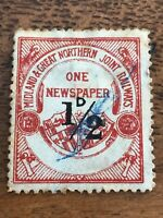 great northern railway - one newspaper 1/2 d stamp. red