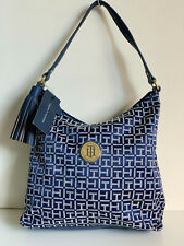 NEW! TOMMY HILFIGER GOLD-TONE BLUE BUCKET HOBO PURSE SHOULDER BAG $85 SALE