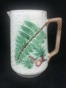 Vintage Majolica Embossed Ferns & Flowers & Leaves Handled Milk Pitcher