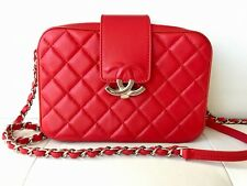 d65b9999ec68 17 CHANEL RED QUILTED LAMBSKIN LEATHER SILVER HW CAMERA CASE BAG ZIP AROUND  CC