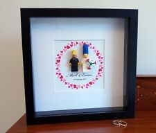 Unique personalised Simpsons LEGO Wedding / Anniversary gift frame AFOL