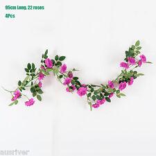 4Pcs Life Like 95cm Artificial Rose Plant Rose Vine Garland Silk Flower Wedding