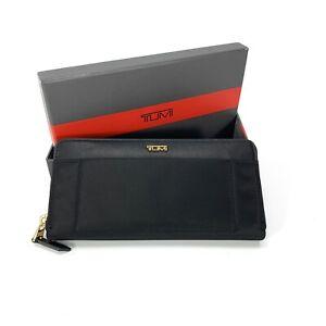 TUMI Voyageur Zip-Around Continental Wallet Black Gold Hardware RFID 93900D