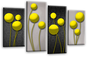 LR Floral Wall Art Yellow Grey Black Flower Print 4Panel Canvas Abstract Picture